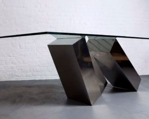 STAINLESS STEEL + GLASS: DUFFY LONDON MONOLITH TABLE