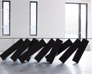 MONOLITHIC STEEL + MASSIVE GLASS: DUFFY LONDON MEGALITH TABLE