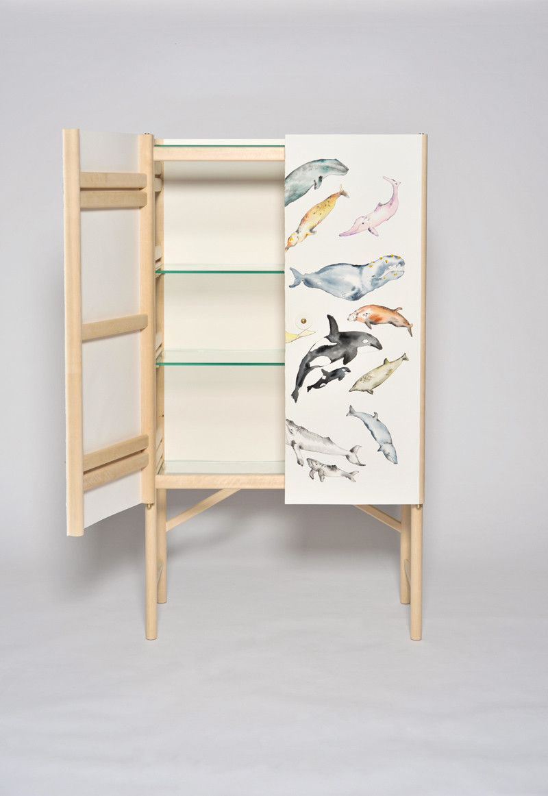 The Whale Cabinet with hand painted whales by David Ericsson The Tønder Collection (1)