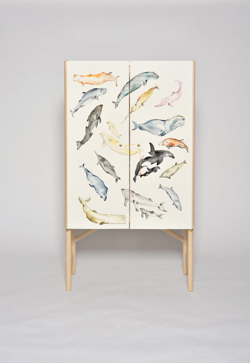 The Whale Cabinet with hand painted whales by David Ericsson The Tønder Collection (2)