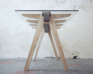 SYCAMORE, CONCRETE, GLASS: BEAM DESK BY TEMPER STUDIO