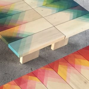 Herringbone Furniture Created With Coloured Dye By Raw Edges