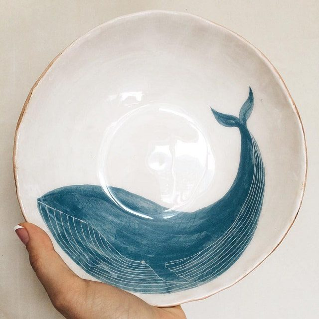 Tiletiletesto Handmade Ceramics Whale Plate Bowl