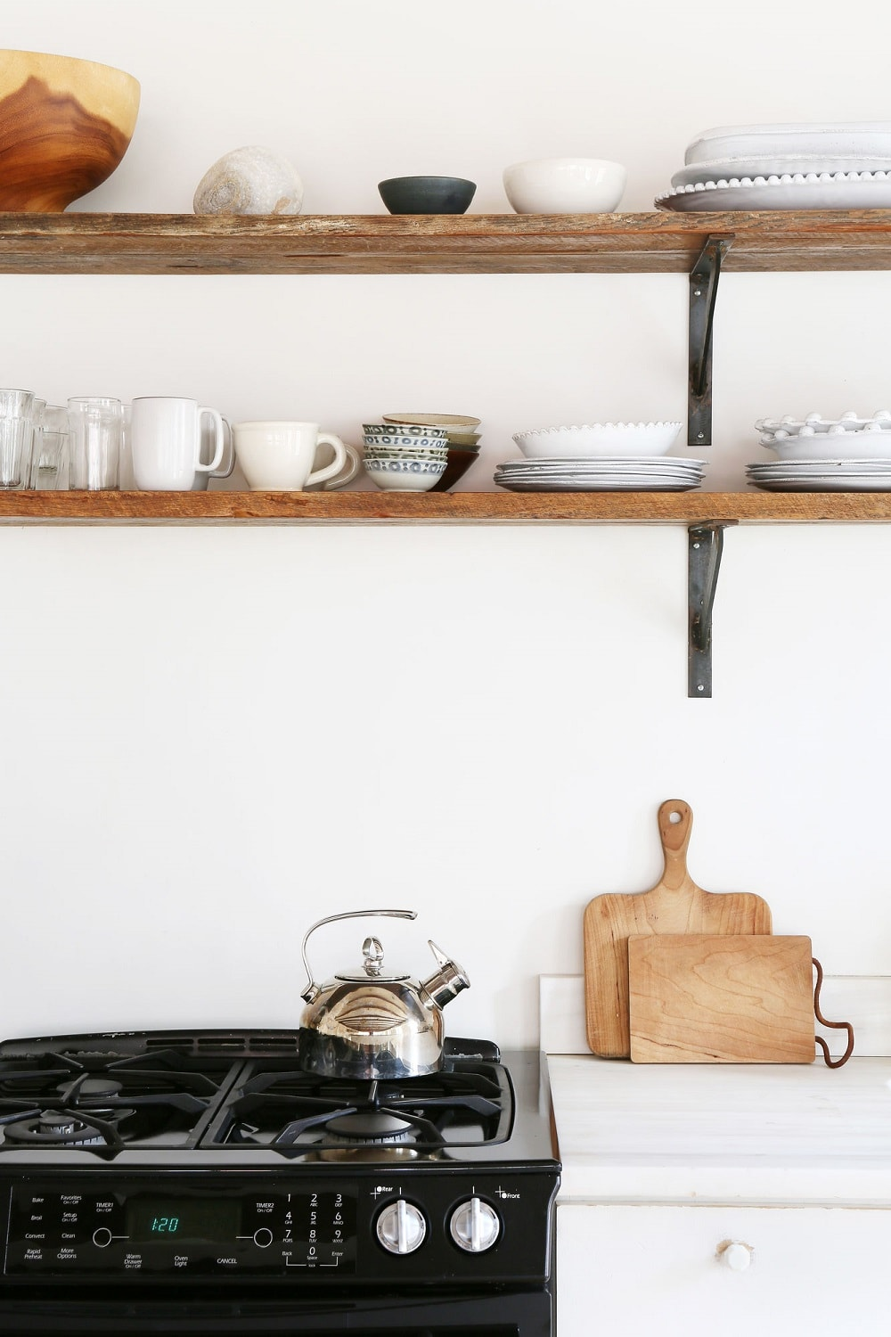 Open Shelves Kitchen decorated with Ceramics - Loft Apartment, Lower East Side, Manhattan, New York